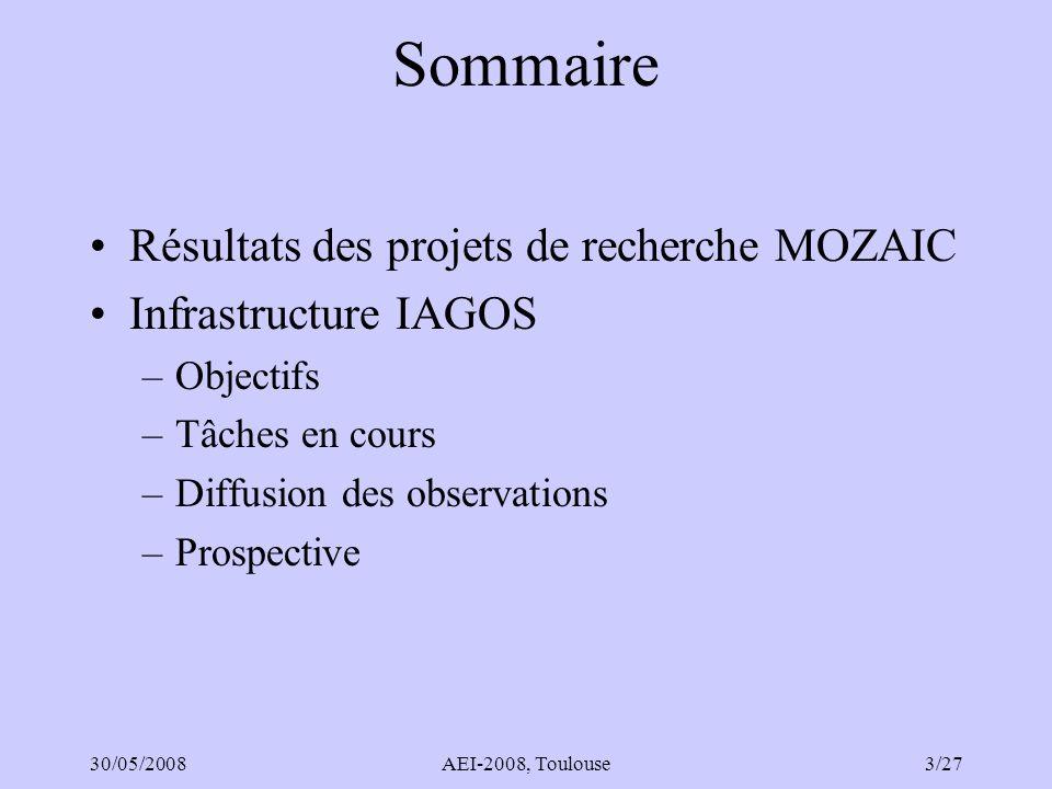 30/05/2008AEI-2008, Toulouse4/27 MOZAIC I, II et III (1994-2008) 5 avions 2500 vols/an O 3, H 2 O Depuis 2002 : CO Sur avion LH : NO y