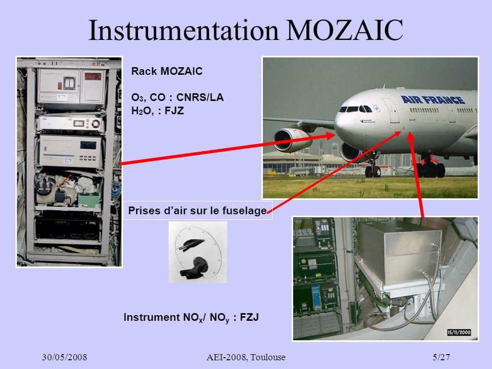 30/05/2008AEI-2008, Toulouse26/27 Phase préparatoire IAGOS-ERI (2008-2012) Projet FP7-Infrastructures 1 Démarre en 09/2008, 4 ans, coord : FZJ Objectifs : –Poursuite de la coordination avec usagers, AMDAR, compagnies aériennes –Mise en place de linfrastructure : cadre légal, financement, place dans IGACO (OMM) –Préparation des opérations : construction et certification RTTU, instrumentation aérosol, CO 2 extension des certifications, maintenance.