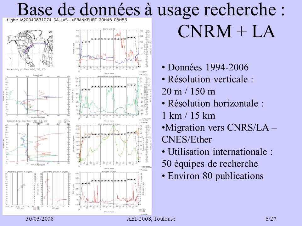 30/05/2008AEI-2008, Toulouse27/27 Objectifs Météo-France Bénéficier des observations IAGOS pour la recherche sur linteraction entre chimie atmosphérique et changement climatique.