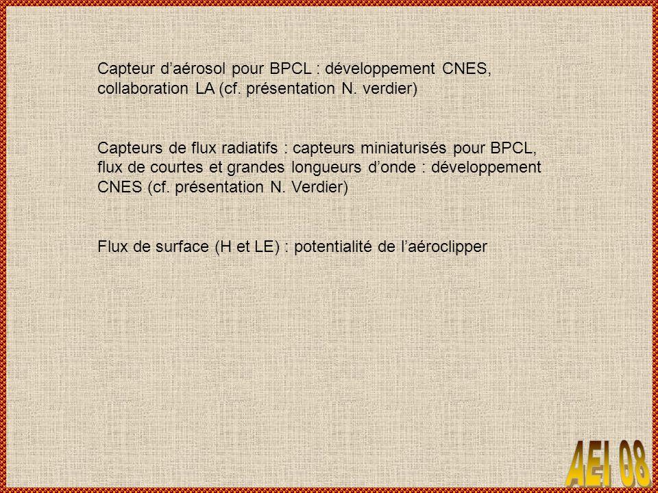 Capteur daérosol pour BPCL : développement CNES, collaboration LA (cf. présentation N. verdier) Capteurs de flux radiatifs : capteurs miniaturisés pou