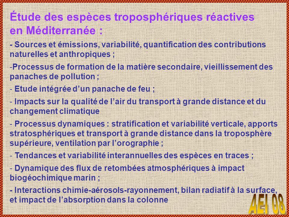 Étude des espèces troposphériques réactives en Méditerranée : - Sources et émissions, variabilité, quantification des contributions naturelles et anth