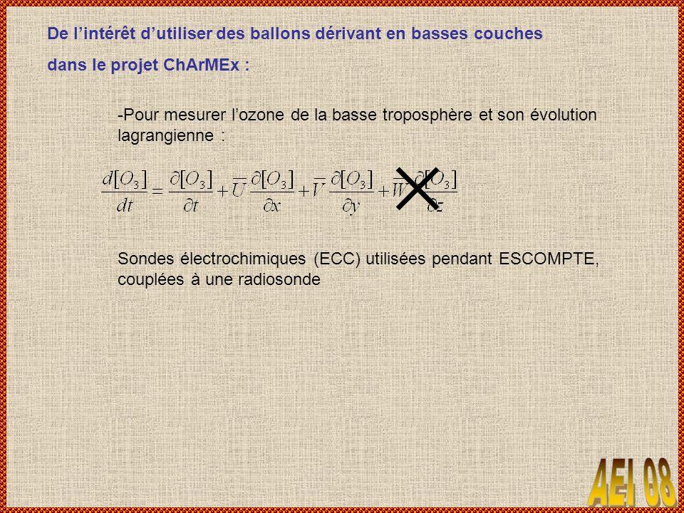 De lintérêt dutiliser des ballons dérivant en basses couches dans le projet ChArMEx : -Pour mesurer lozone de la basse troposphère et son évolution lagrangienne : Sondes électrochimiques (ECC) utilisées pendant ESCOMPTE, couplées à une radiosonde