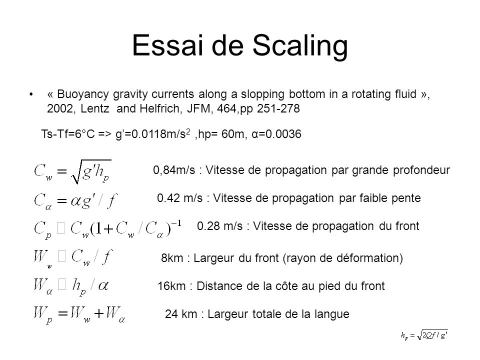 Essai de Scaling « Buoyancy gravity currents along a slopping bottom in a rotating fluid », 2002, Lentz and Helfrich, JFM, 464,pp 251-278 Ts-Tf=6°C =>
