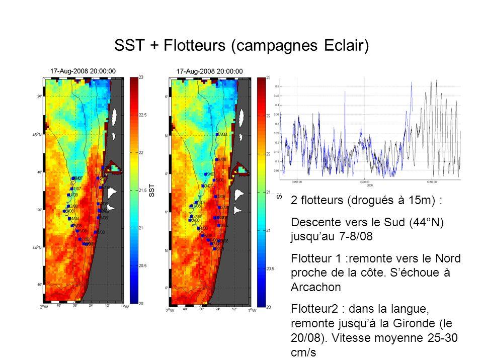 SST + Flotteurs (campagnes Eclair) 2 flotteurs (drogués à 15m) : Descente vers le Sud (44°N) jusquau 7-8/08 Flotteur 1 :remonte vers le Nord proche de la côte.