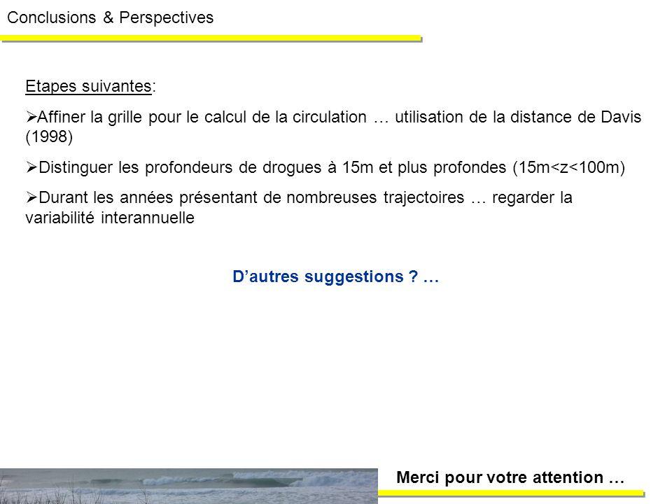 Etapes suivantes: Affiner la grille pour le calcul de la circulation … utilisation de la distance de Davis (1998) Distinguer les profondeurs de drogue