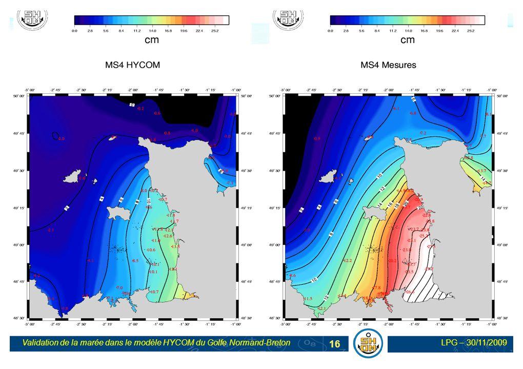 LPG – 30/11/2009Validation de la marée dans le modèle HYCOM du Golfe Normand-Breton 16