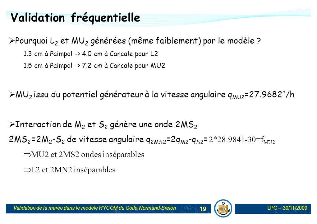 LPG – 30/11/2009Validation de la marée dans le modèle HYCOM du Golfe Normand-Breton 19 Validation fréquentielle Pourquoi L 2 et MU 2 générées (même fa
