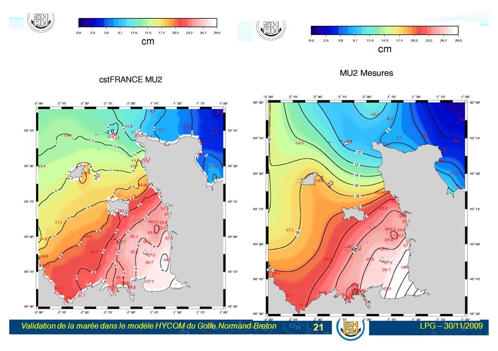 LPG – 30/11/2009Validation de la marée dans le modèle HYCOM du Golfe Normand-Breton 21