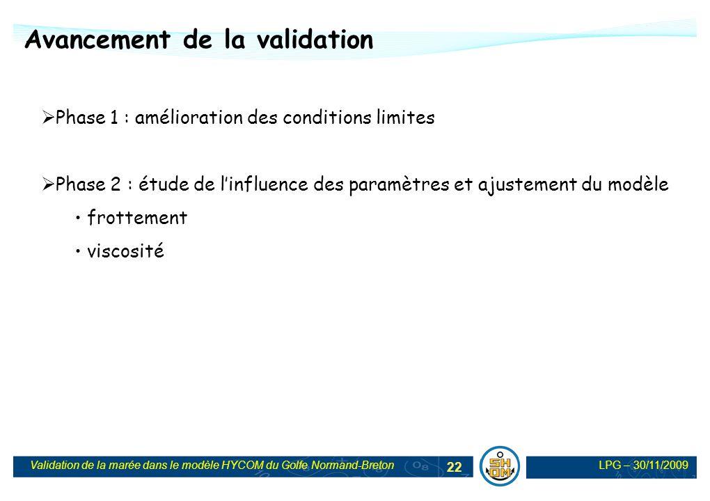 LPG – 30/11/2009Validation de la marée dans le modèle HYCOM du Golfe Normand-Breton 22 Phase 1 : amélioration des conditions limites Phase 2 : étude d