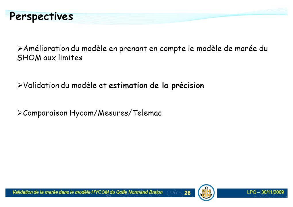 LPG – 30/11/2009Validation de la marée dans le modèle HYCOM du Golfe Normand-Breton 26 Perspectives Amélioration du modèle en prenant en compte le mod
