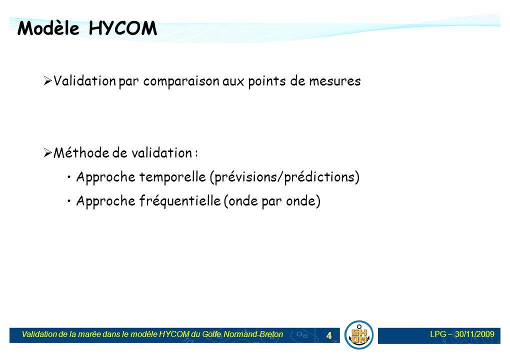 LPG – 30/11/2009Validation de la marée dans le modèle HYCOM du Golfe Normand-Breton 25 Comparaison HYCOM - TELEMAC Extension géographique identique Pas despace constant à 150 m Conditions limites identiques Bathymétrie identique Processus de validation identique => Comparaison HYCOM/Mesures/Telemac