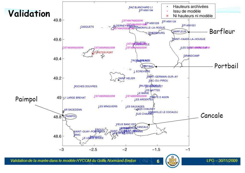 LPG – 30/11/2009Validation de la marée dans le modèle HYCOM du Golfe Normand-Breton 7 Validation temporelle