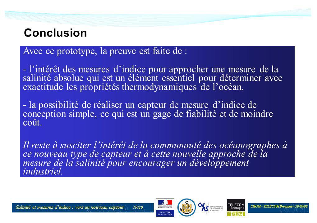 SHOM – TELECOM Bretagne – 29/05/08 Salinité et mesures dindice : vers un nouveau capteur 19/20 Conclusion Avec ce prototype, la preuve est faite de :