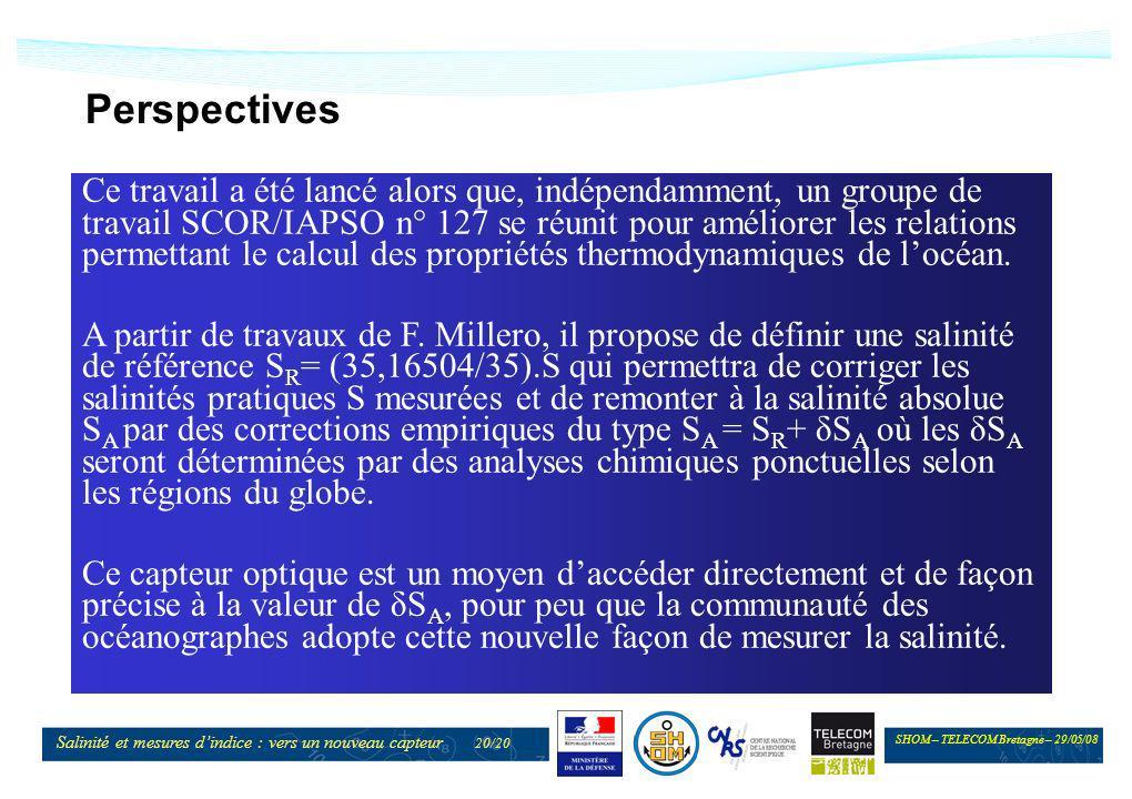 SHOM – TELECOM Bretagne – 29/05/08 Salinité et mesures dindice : vers un nouveau capteur 20/20 Perspectives Ce travail a été lancé alors que, indépend