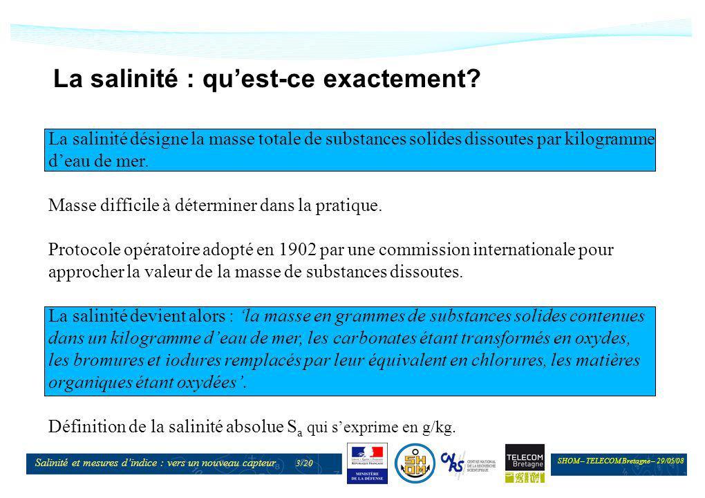 SHOM – TELECOM Bretagne – 29/05/08 Salinité et mesures dindice : vers un nouveau capteur 3/20 La salinité : quest-ce exactement? La salinité désigne l