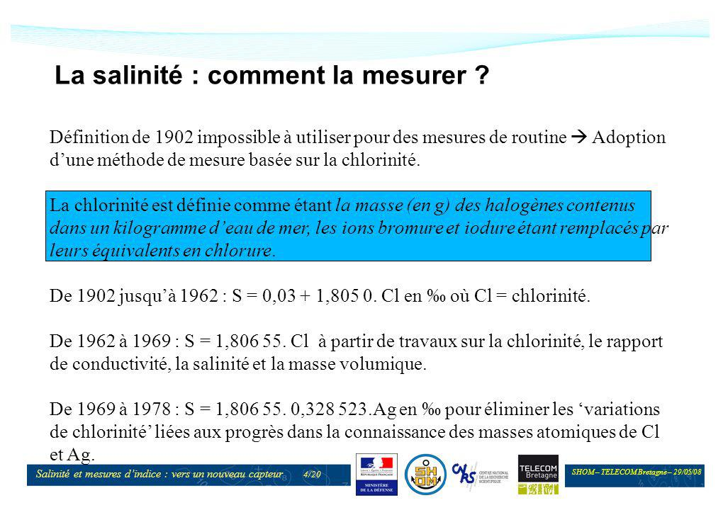 SHOM – TELECOM Bretagne – 29/05/08 Salinité et mesures dindice : vers un nouveau capteur 5/20 La salinité : comment la mesurer .