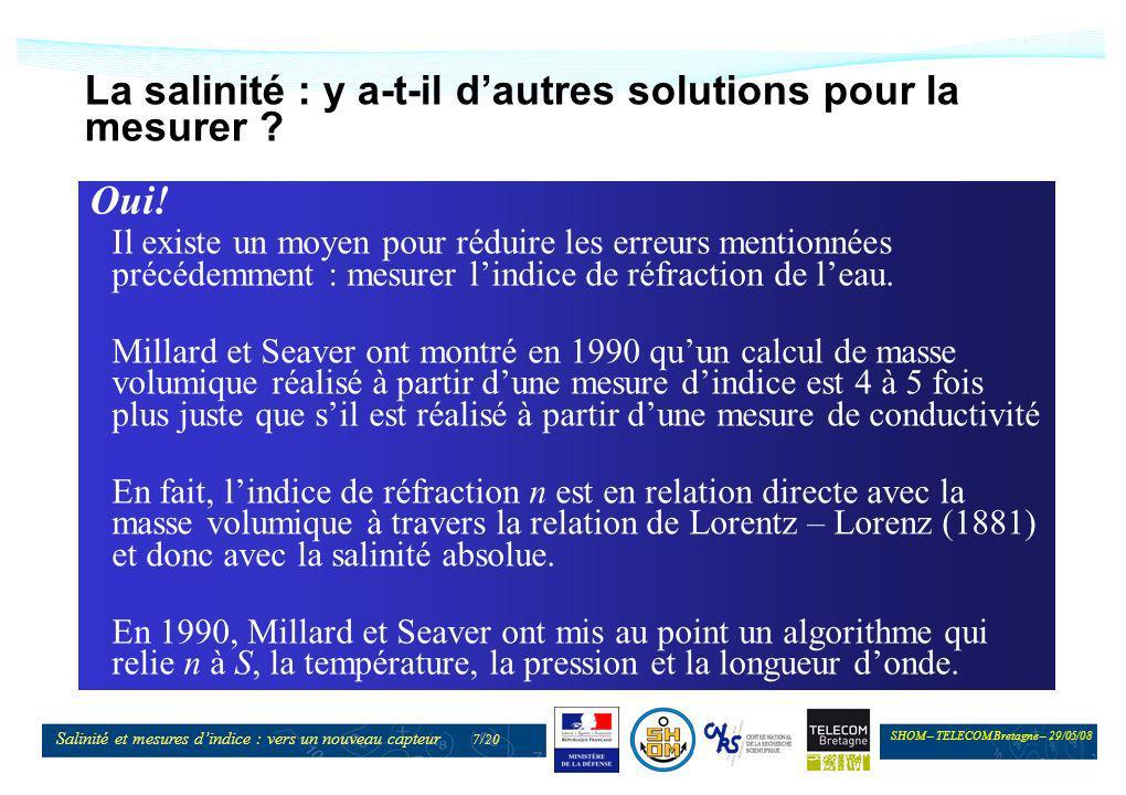 SHOM – TELECOM Bretagne – 29/05/08 Salinité et mesures dindice : vers un nouveau capteur 8/20 Mise au point dun réfractomètre Pour mettre en pratique cette relation, il manque un capteur.
