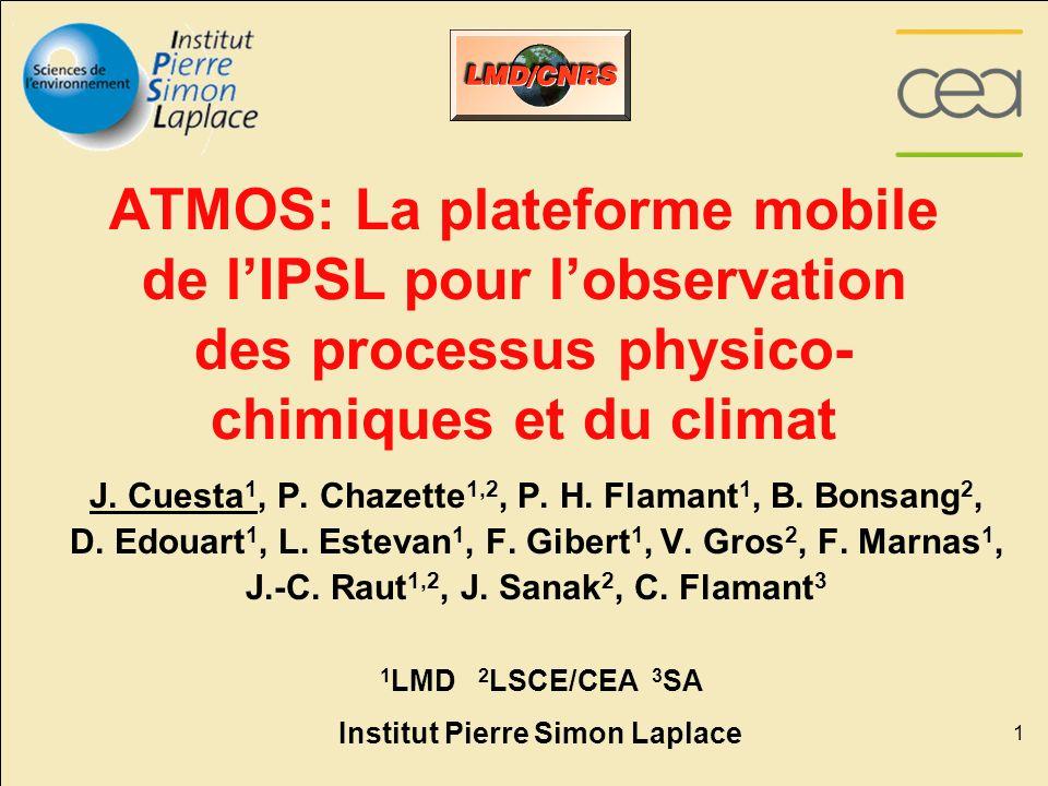 1 ATMOS: La plateforme mobile de lIPSL pour lobservation des processus physico- chimiques et du climat J. Cuesta 1, P. Chazette 1,2, P. H. Flamant 1,