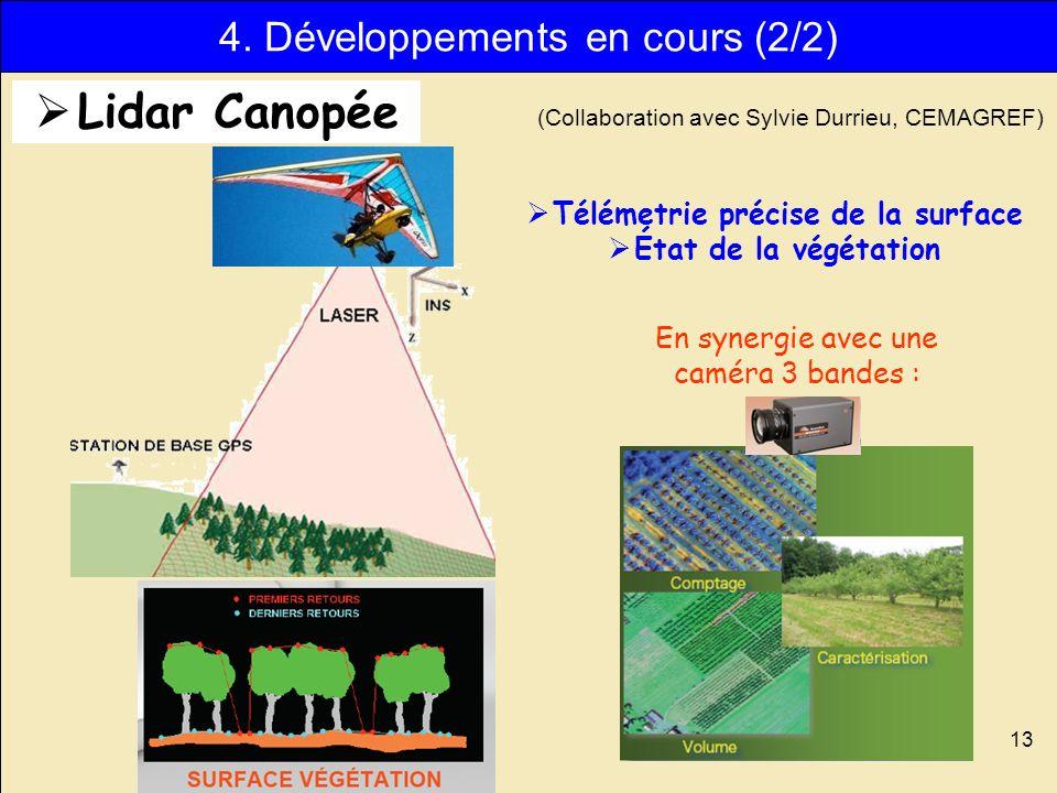13 Télémetrie précise de la surface État de la végétation (Collaboration avec Sylvie Durrieu, CEMAGREF) En synergie avec une caméra 3 bandes : 4. Déve
