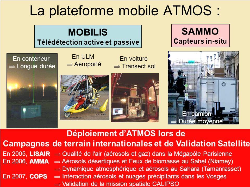 3 La plateforme mobile ATMOS : MOBILIS Télédétection active et passive SAMMO Capteurs in-situ En conteneur Longue durée En ULM Aéroporté En voiture Tr
