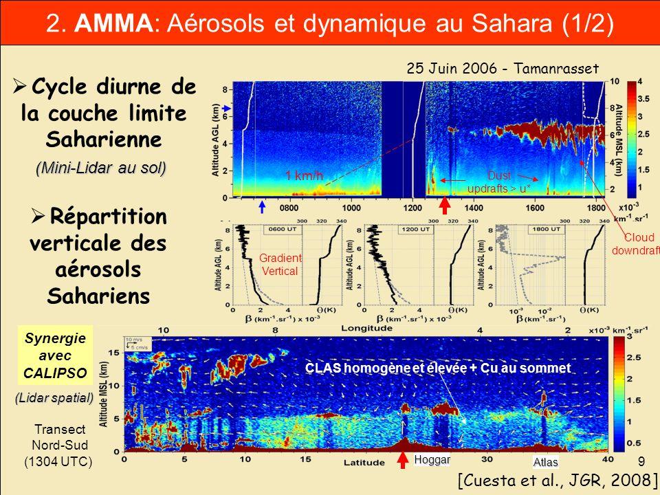 9 25 Juin 2006 - Tamanrasset (1304 UTC) 1 km/h Hoggar Atlas CLAS homogène et élevée + Cu au sommet Dust updrafts > u* Cloud downdrafts Synergie avec C