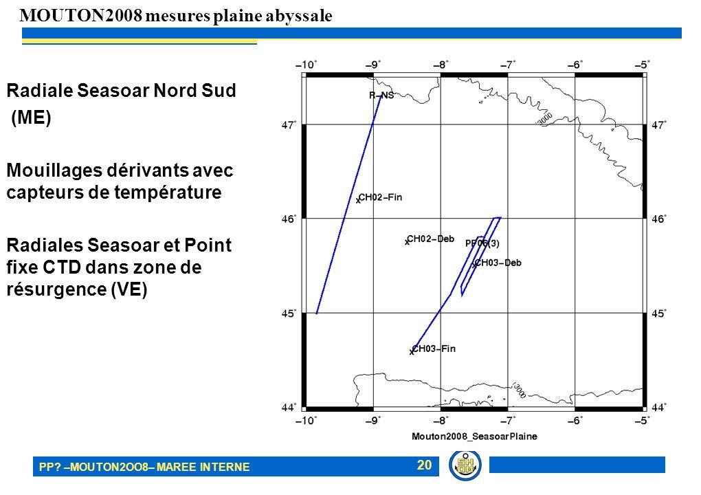 PP? –MOUTON2OO8– MAREE INTERNE 20 Radiale Seasoar Nord Sud (ME) Mouillages dérivants avec capteurs de température Radiales Seasoar et Point fixe CTD d