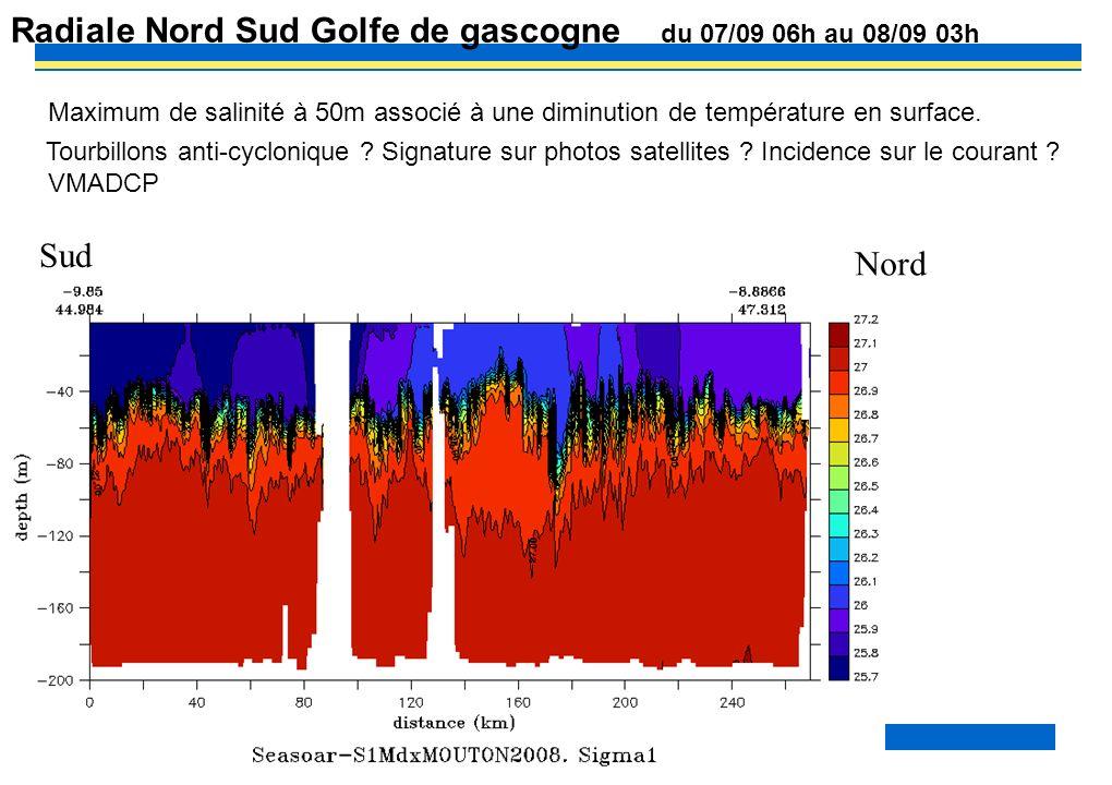 PP? –MOUTON2OO8– MAREE INTERNE 32 Radiale Nord Sud Golfe de gascogne du 07/09 06h au 08/09 03h Maximum de salinité à 50m associé à une diminution de t