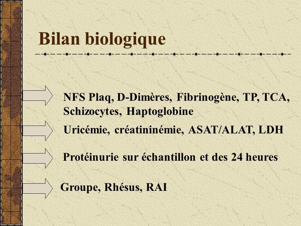 Bilan biologique NFS Plaq, D-Dimères, Fibrinogène, TP, TCA, Schizocytes, Haptoglobine Uricémie, créatininémie, ASAT/ALAT, LDH Protéinurie sur échantil