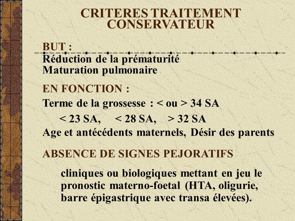 CRITERES TRAITEMENT CONSERVATEUR BUT : Réduction de la prématurité Maturation pulmonaire EN FONCTION : Terme de la grossesse : 34 SA 32 SA Age et anté