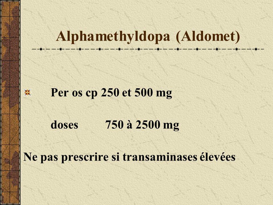 Alphamethyldopa (Aldomet) Per os cp 250 et 500 mg doses750 à 2500 mg Ne pas prescrire si transaminases élevées