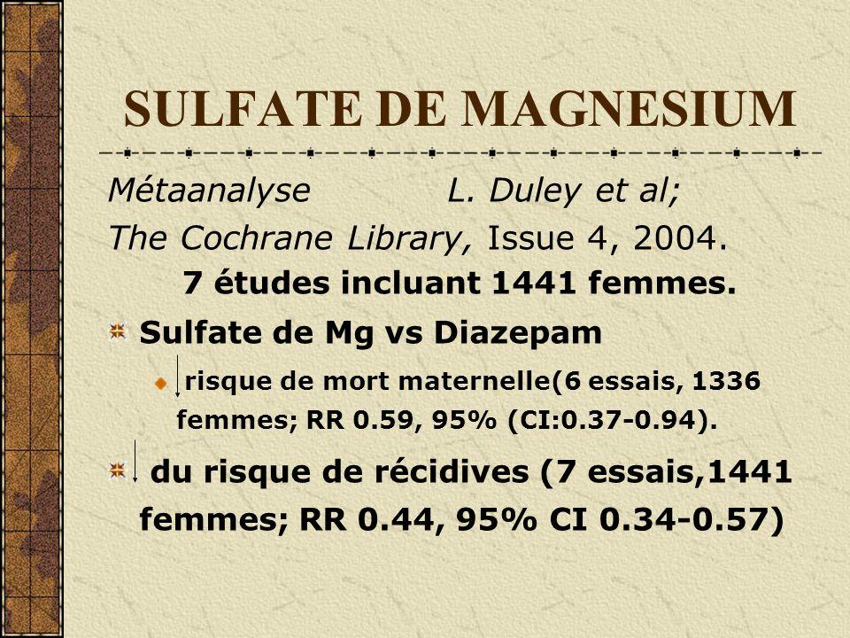 SULFATE DE MAGNESIUM MétaanalyseL. Duley et al; The Cochrane Library, Issue 4, 2004. 7 études incluant 1441 femmes. Sulfate de Mg vs Diazepam risque d