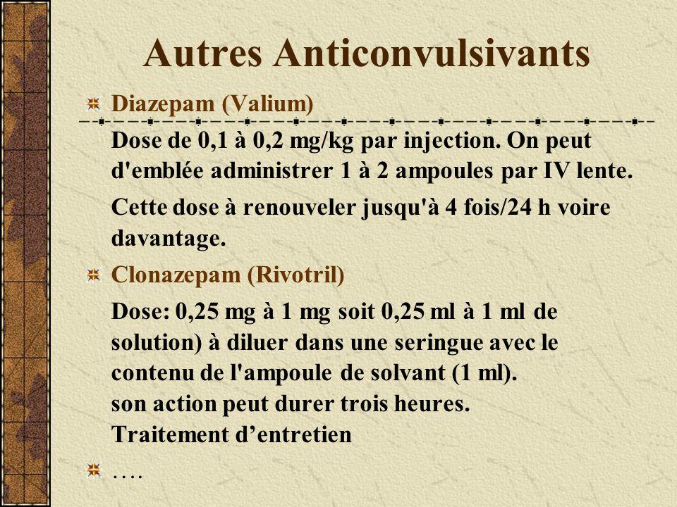 Autres Anticonvulsivants Diazepam (Valium) Dose de 0,1 à 0,2 mg/kg par injection. On peut d'emblée administrer 1 à 2 ampoules par IV lente. Cette dose