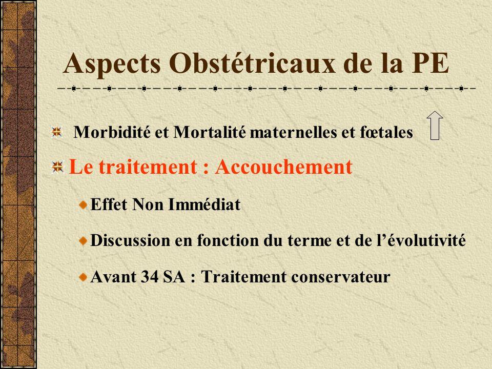 Aspects Obstétricaux de la PE Morbidité et Mortalité maternelles et fœtales Le traitement : Accouchement Effet Non Immédiat Discussion en fonction du