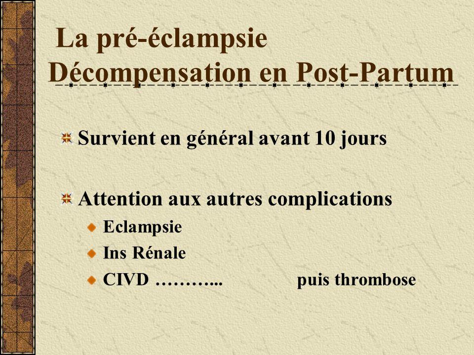 La pré-éclampsie Décompensation en Post-Partum Survient en général avant 10 jours Attention aux autres complications Eclampsie Ins Rénale CIVD………...pu