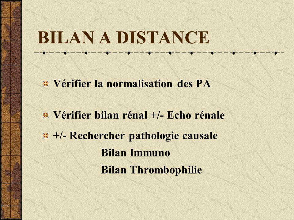 BILAN A DISTANCE Vérifier la normalisation des PA Vérifier bilan rénal +/- Echo rénale +/- Rechercher pathologie causale Bilan Immuno Bilan Thrombophi