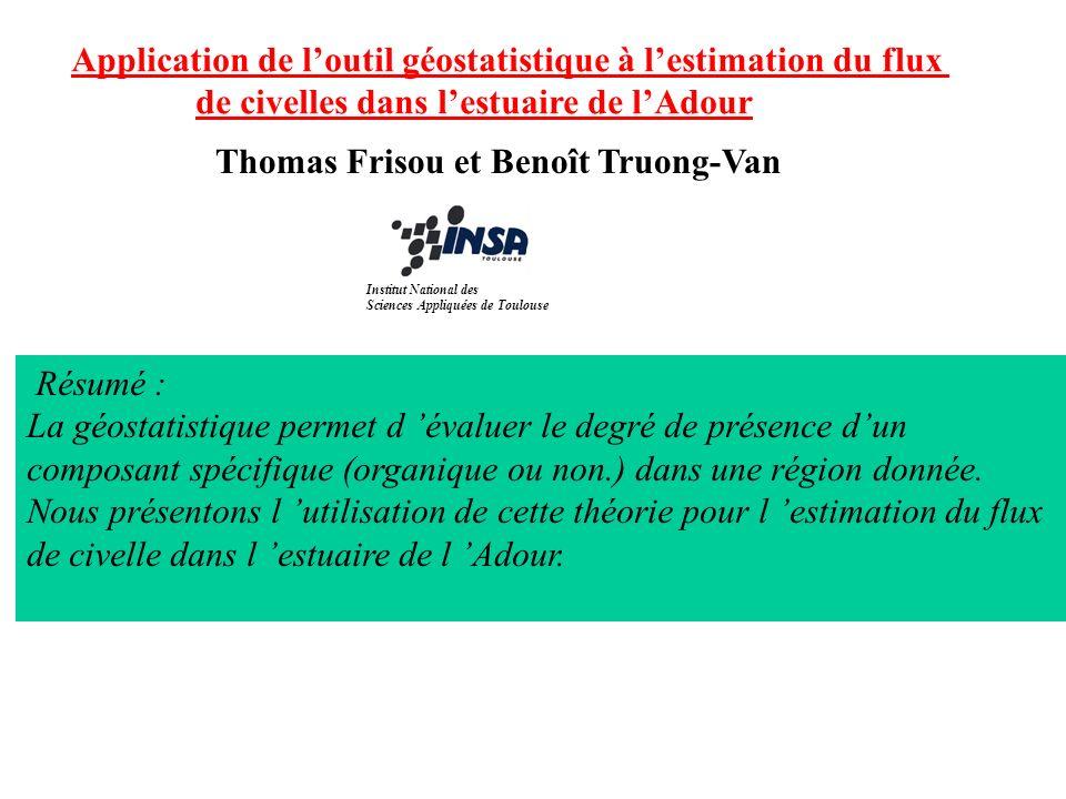 Application de loutil géostatistique à lestimation du flux de civelles dans lestuaire de lAdour Thomas Frisou et Benoît Truong-Van Résumé : La géostat