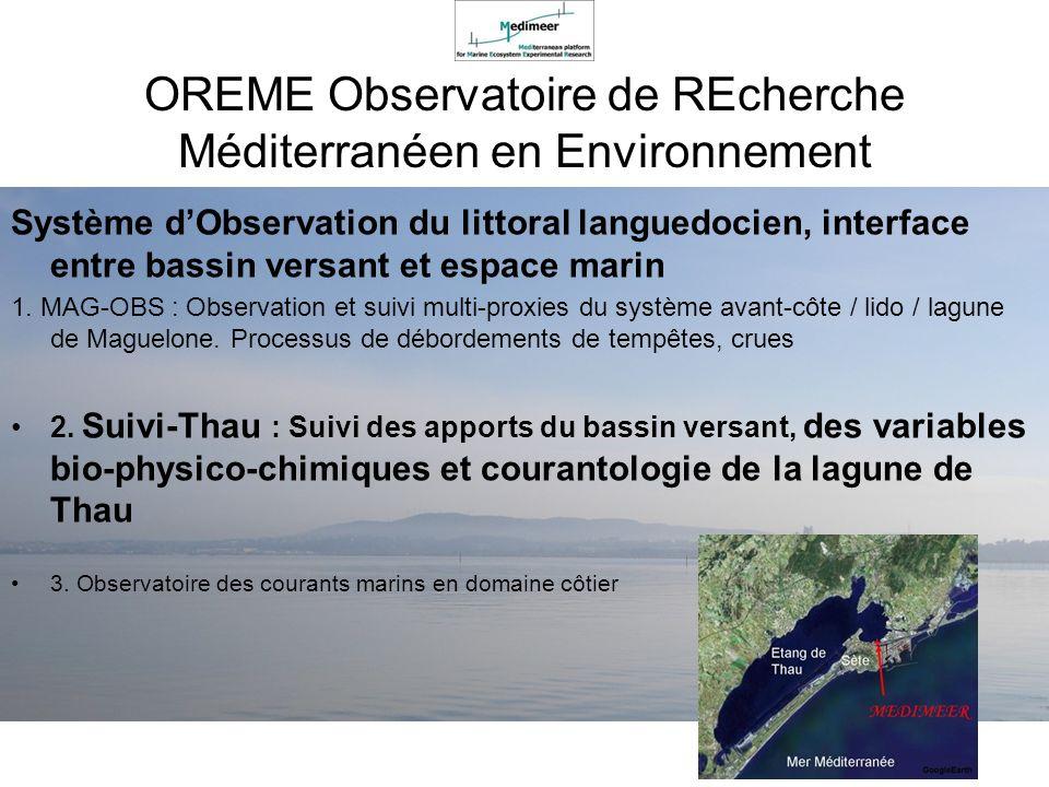 Système dObservation du littoral languedocien, interface entre bassin versant et espace marin 1. MAG-OBS : Observation et suivi multi-proxies du systè