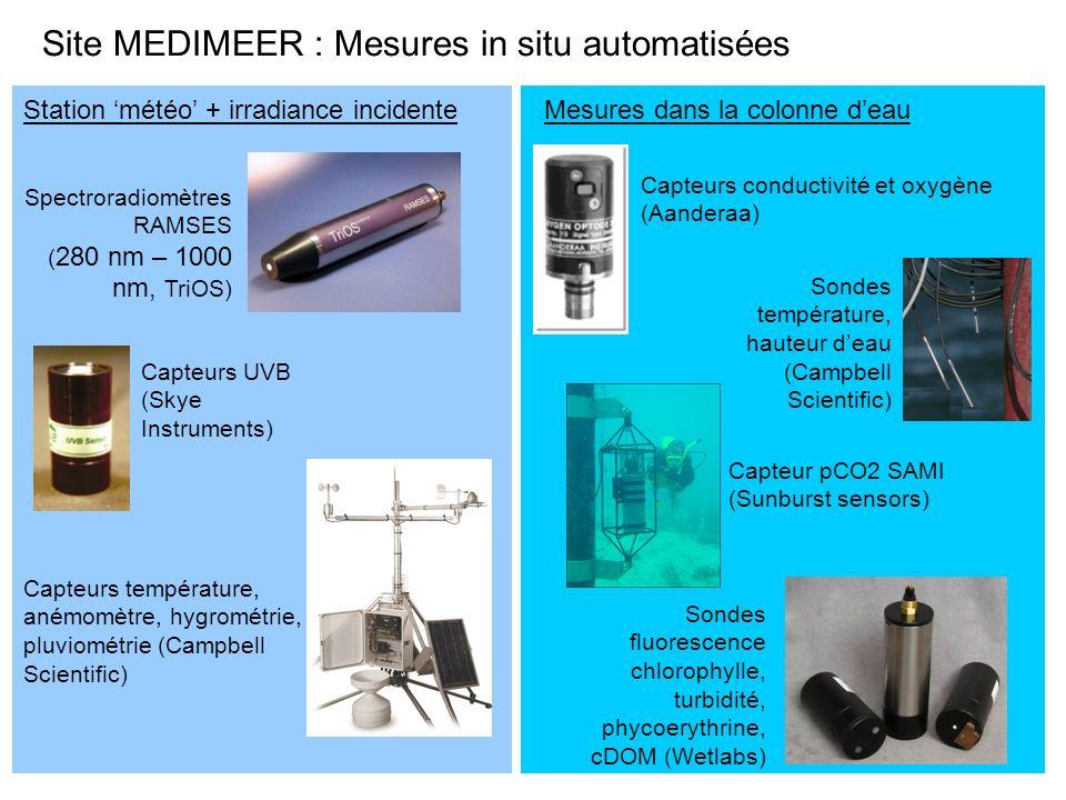Spectroradiomètres RAMSES ( 280 nm – 1000 nm, TriOS) Sondes fluorescence chlorophylle, turbidité, phycoerythrine, cDOM (Wetlabs) Capteurs UVB (Skye In