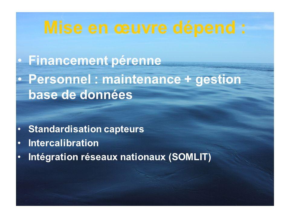 Mise en œuvre dépend : Financement pérenne Personnel : maintenance + gestion base de données Standardisation capteurs Intercalibration Intégration rés