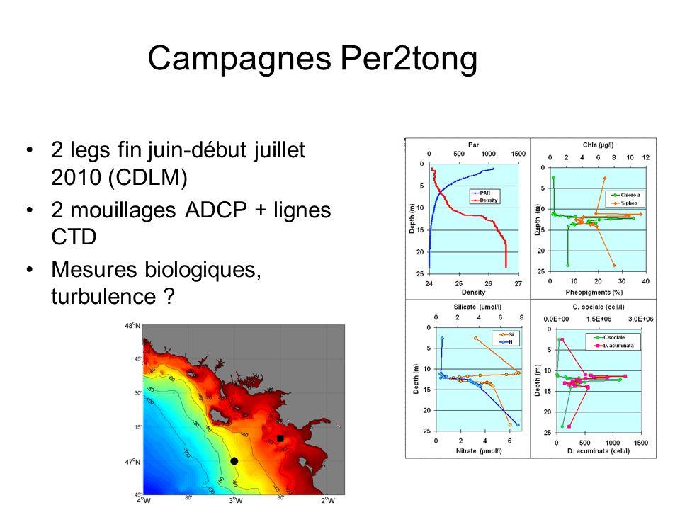Campagnes Per2tong 2 legs fin juin-début juillet 2010 (CDLM) 2 mouillages ADCP + lignes CTD Mesures biologiques, turbulence ?