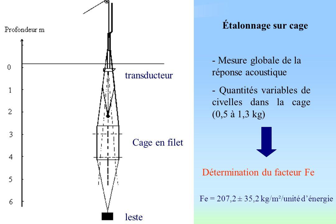 Évaluation de labondance par écho-intégration Formule de base Biomasse = Fe x énergie x surface couverte Fe : facteur d écho-intégration fonction du sondeur et des propriétés acoustiques des cibles (en kg/m²/énergie) surface couverte par le navire (en m²)