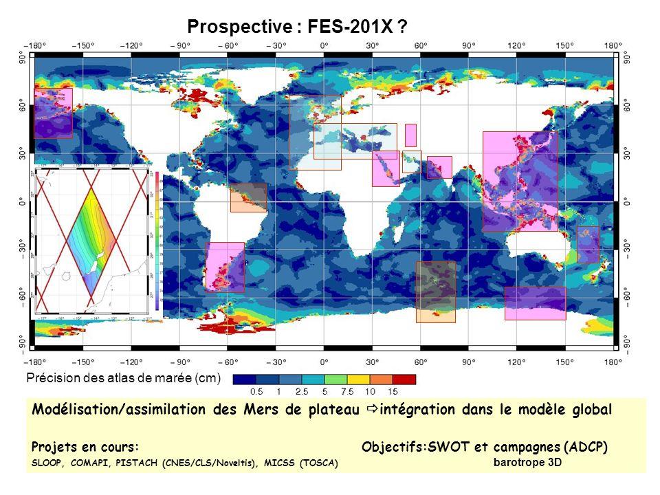 Précision des atlas de marée (cm) Prospective : FES-201X ? Modélisation/assimilation des Mers de plateau intégration dans le modèle global Projets en