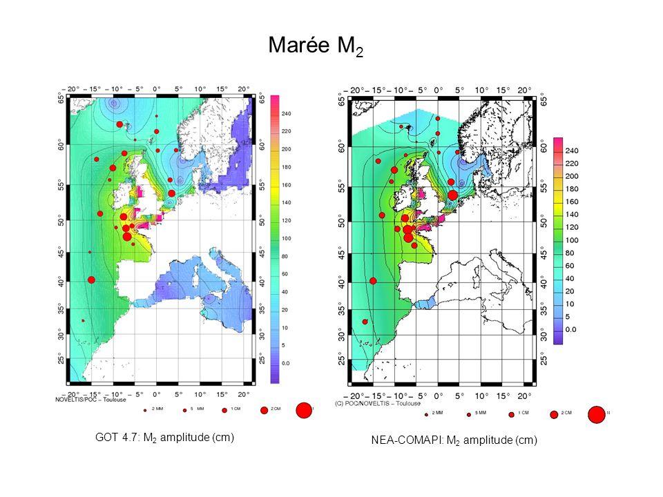 Marée M 2 (modèle NEA) NEA-COMAPI (prior): M 2 max current (cm/s)NEA-COMAPI (optimal): M 2 max current (cm/s)
