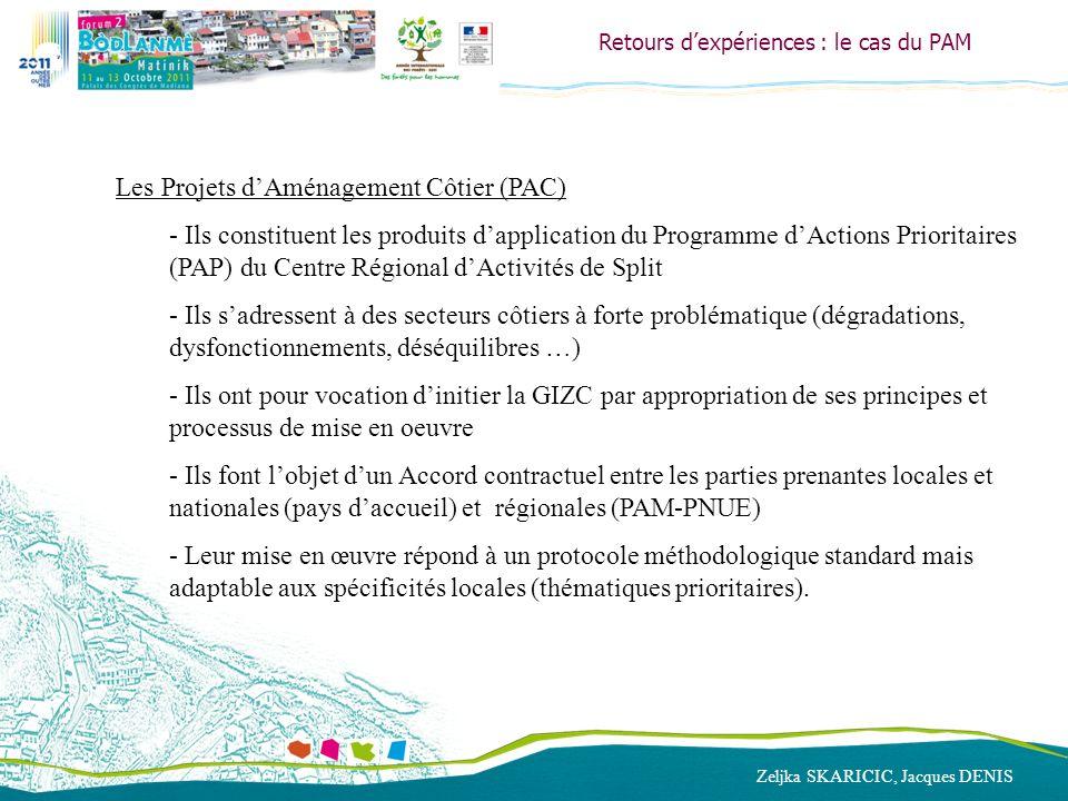 Zeljka SKARICIC, Jacques DENIS Retours dexpériences : le cas du PAM Les Projets dAménagement Côtier (PAC) - Ils constituent les produits dapplication