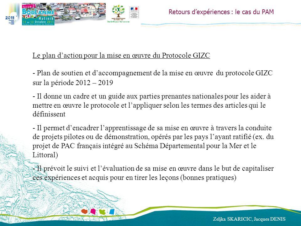 Zeljka SKARICIC, Jacques DENIS Retours dexpériences : le cas du PAM Le plan daction pour la mise en œuvre du Protocole GIZC - Plan de soutien et dacco