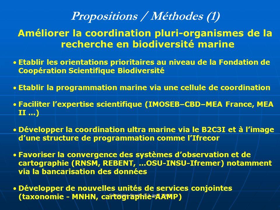 Séminaire Brest, 2-3 avril 2008 Propositions / Méthodes (1) Améliorer la coordination pluri-organismes de la recherche en biodiversité marine Etablir les orientations prioritaires au niveau de la Fondation de Coopération Scientifique Biodiversité Etablir la programmation marine via une cellule de coordination Faciliter lexpertise scientifique (IMOSEB–CBD–MEA France, MEA II …) Développer la coordination ultra marine via le B2C3I et à limage dune structure de programmation comme lIfrecor Favoriser la convergence des systèmes dobservation et de cartographie (RNSM, REBENT, …OSU-INSU-Ifremer) notamment via la bancarisation des données Développer de nouvelles unités de services conjointes (taxonomie - MNHN, cartographie-AAMP)