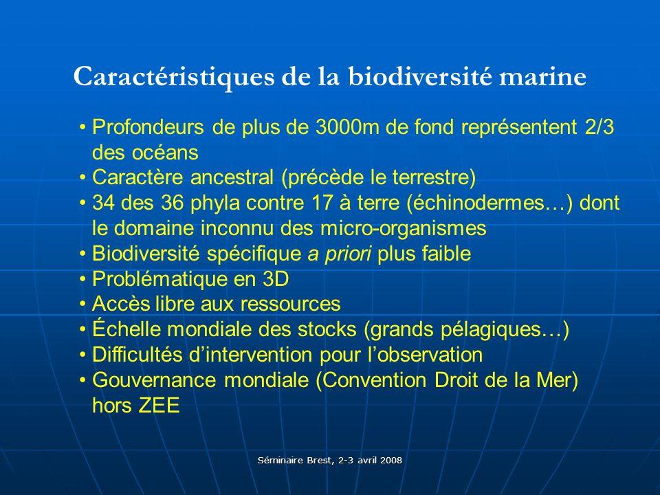 Séminaire Brest, 2-3 avril 2008 Caractéristiques de la biodiversité marine Profondeurs de plus de 3000m de fond représentent 2/3 des océans Caractère ancestral (précède le terrestre) 34 des 36 phyla contre 17 à terre (échinodermes…) dont le domaine inconnu des micro-organismes Biodiversité spécifique a priori plus faible Problématique en 3D Accès libre aux ressources Échelle mondiale des stocks (grands pélagiques…) Difficultés dintervention pour lobservation Gouvernance mondiale (Convention Droit de la Mer) hors ZEE