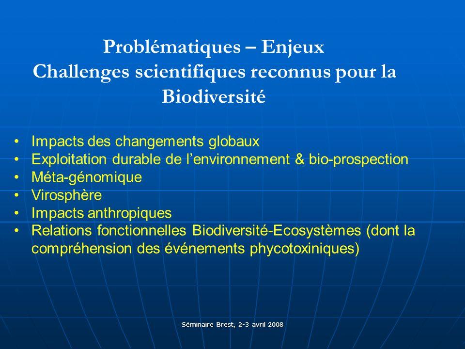 Séminaire Brest, 2-3 avril 2008 Problématiques – Enjeux Challenges scientifiques reconnus pour la Biodiversité Impacts des changements globaux Exploitation durable de lenvironnement & bio-prospection Méta-génomique Virosphère Impacts anthropiques Relations fonctionnelles Biodiversité-Ecosystèmes (dont la compréhension des événements phycotoxiniques)
