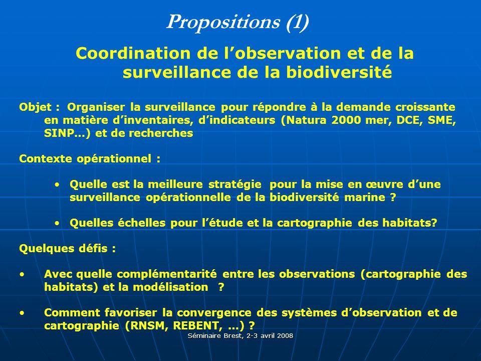 Séminaire Brest, 2-3 avril 2008 Propositions (1) Coordination de lobservation et de la surveillance de la biodiversité Objet : Organiser la surveillance pour répondre à la demande croissante en matière dinventaires, dindicateurs (Natura 2000 mer, DCE, SME, SINP…) et de recherches Contexte opérationnel : Quelle est la meilleure stratégie pour la mise en œuvre dune surveillance opérationnelle de la biodiversité marine .