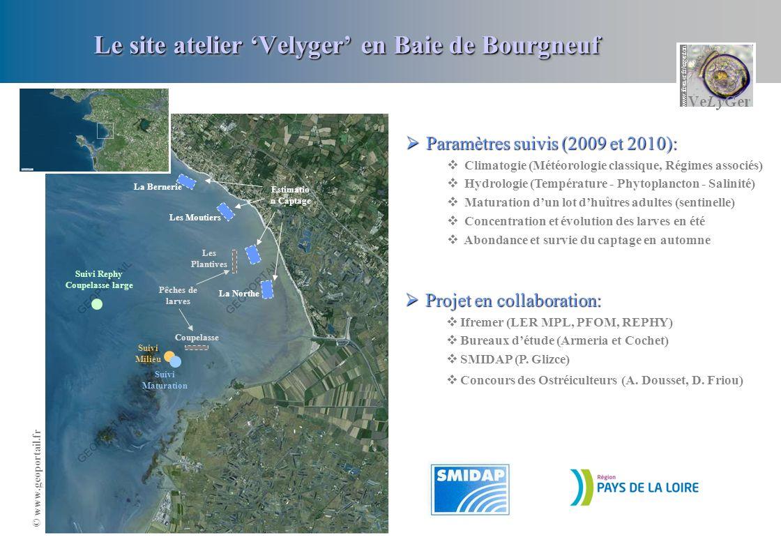 Le site atelier Velyger en Baie de Bourgneuf Suivi Milieu Les Plantives Coupelasse Pêches de larves Suivi Maturation Paramètres suivis (2009 et 2010):